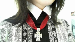 $70 Cross Formee modelled by me dressed like a vampire, no?